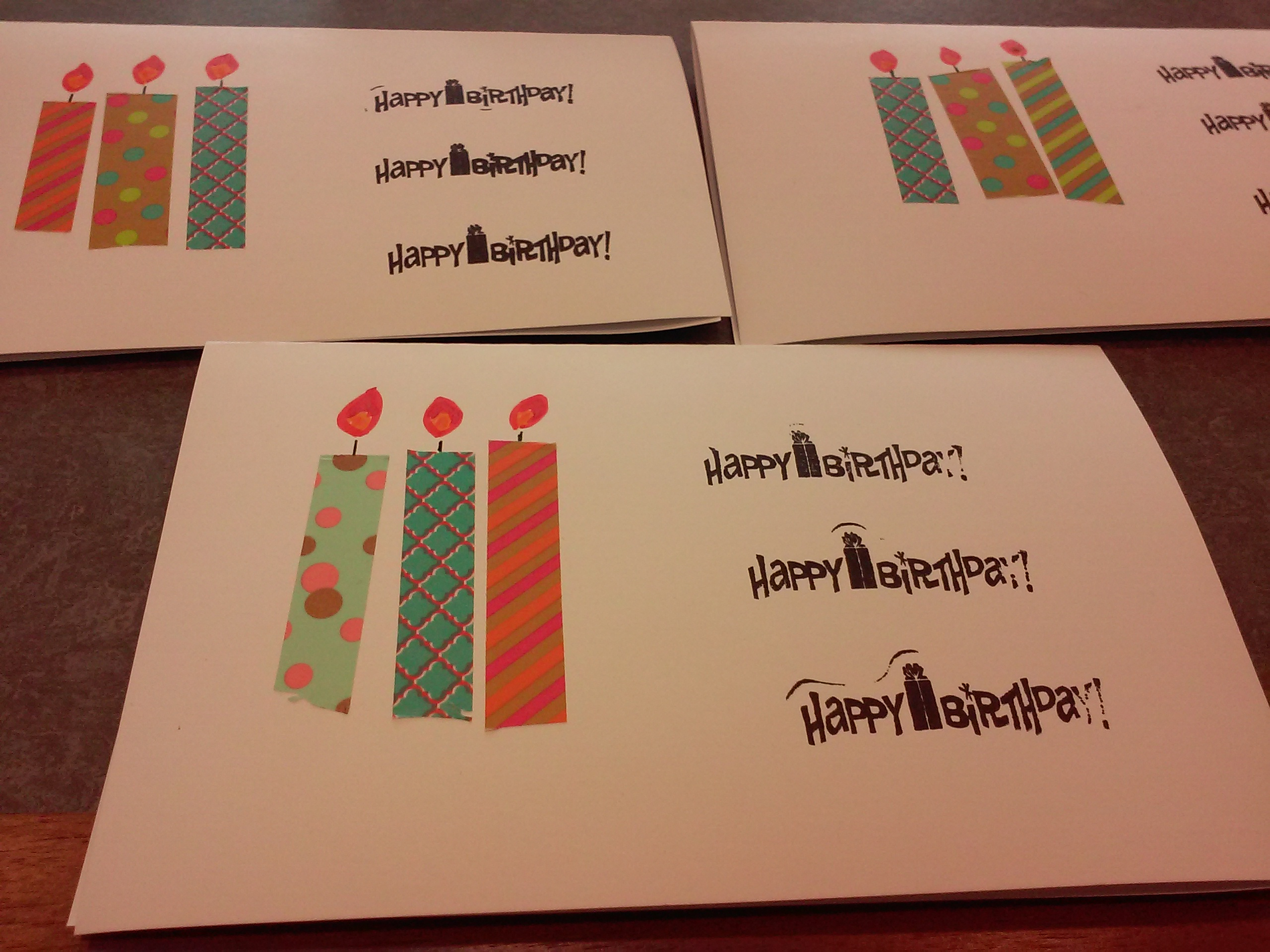 finished 3 candles cards