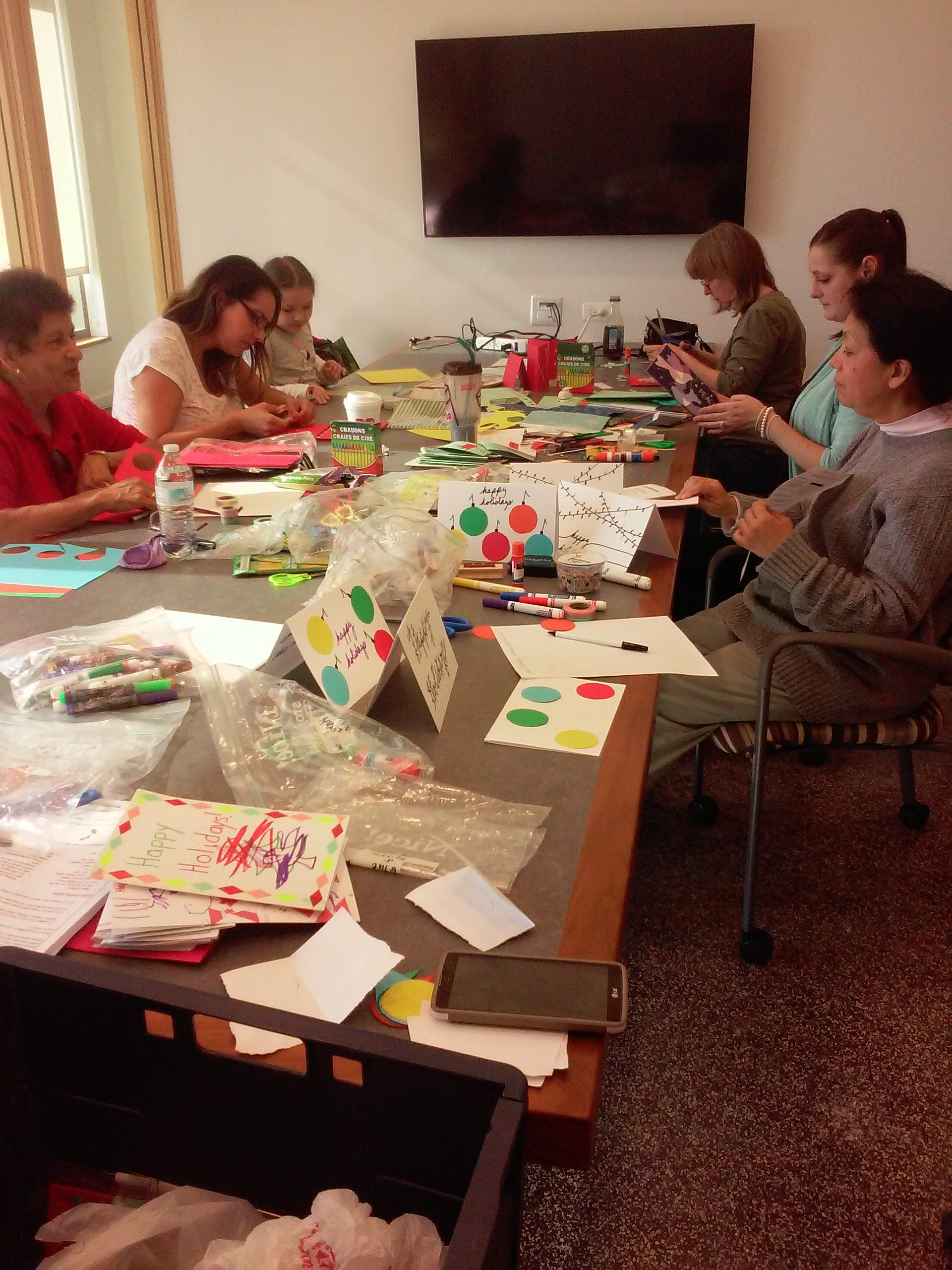 Making holiday cards for veterans!