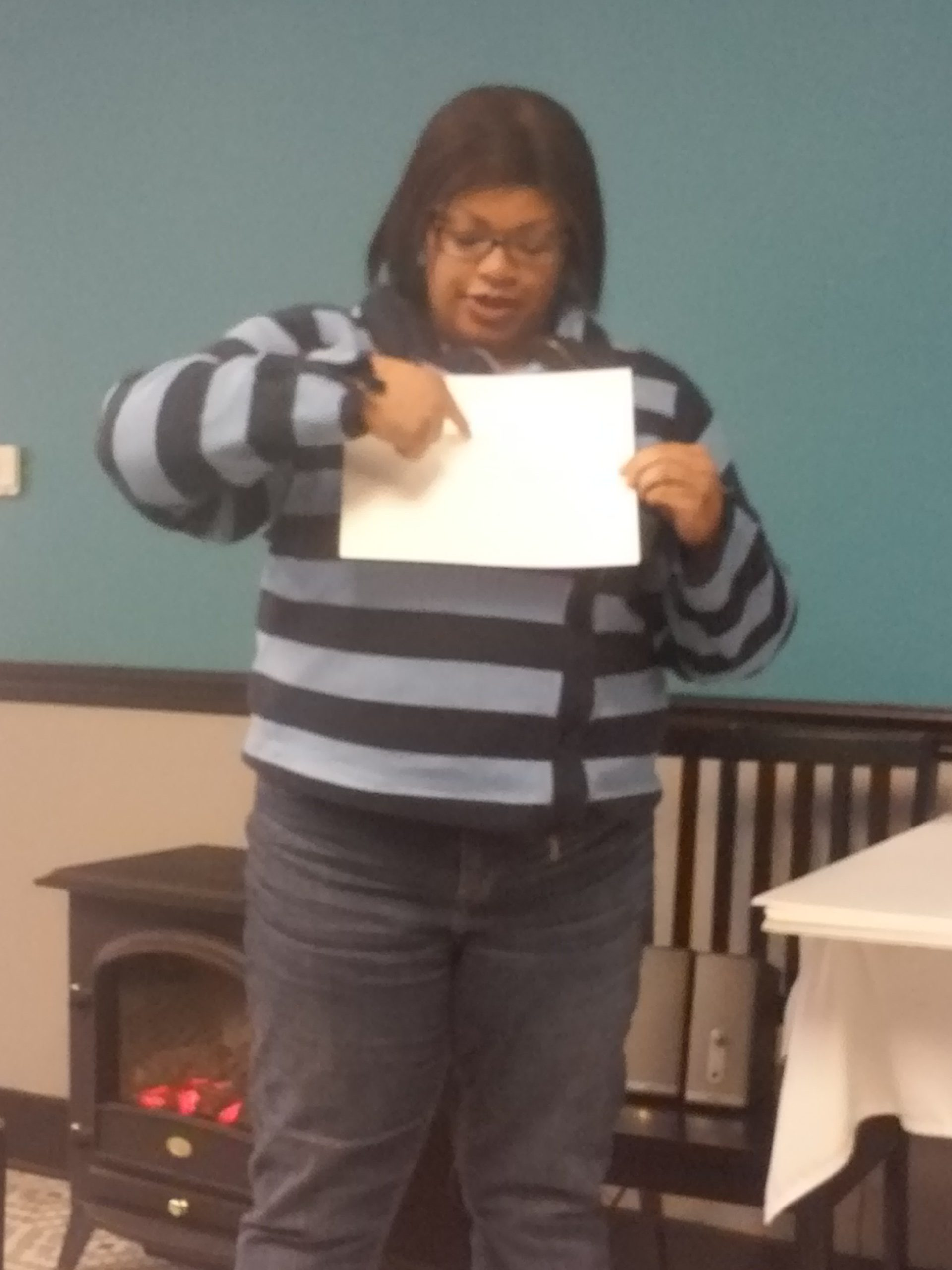 attendee with sketch of vision board layout 3