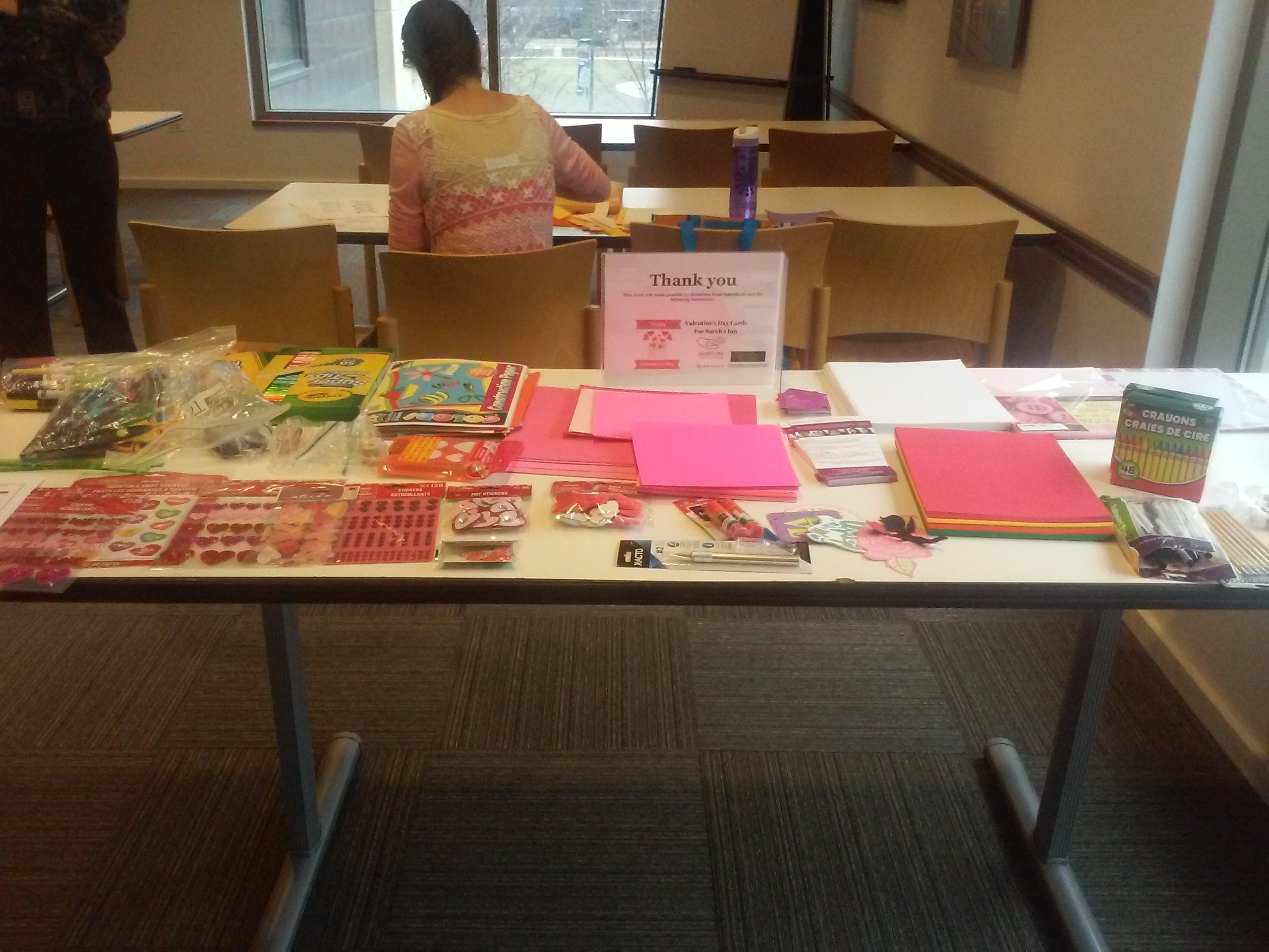 card making materials are setup and ready to go